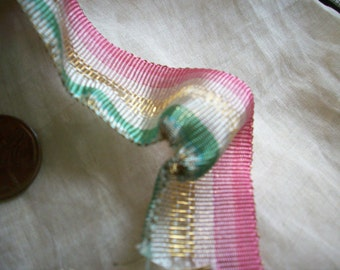 Luscious antique french metal and silk ribbon for ribbonwork 1920s