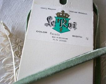 Full BOLT 10 yds. of reseda green 1/4 inch velvet nylon/rayon ribbon, more avail.