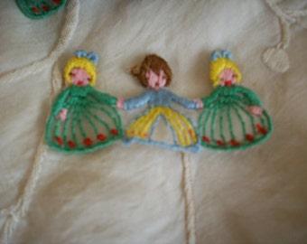 Hand Loomed vintage appliqués of 3 children holding hands