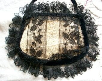19th century purse black lace and silk
