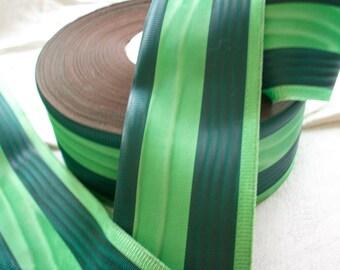 1 yd.of a vintage stripe of gorgeous grass green ribbon stripe