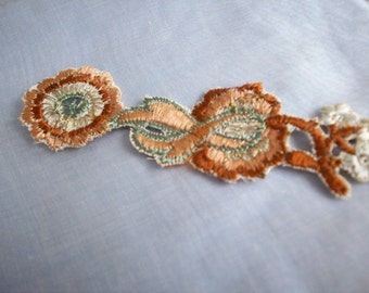 Art deco period metal embroidered french appliques