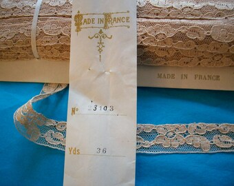 Full BOLT 36 yds.antique french alencon lace in cafe au lait