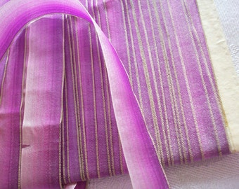 1 yd. of a Luscious ombre silk antique french ribbon with metal edge