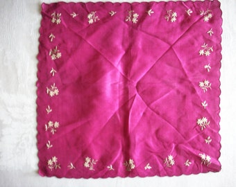 French antique embroidered silk hanky