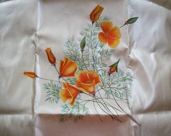 Rare silk painting of poppies on an ivory silk satin ground
