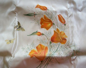 Rare silk painting of butterlies and poppies on an ivory silk satin ground