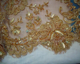 Breathtaking vintage french silk beaded and sequined lace