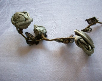 antique french ribbonwork rose of metal lame in 2 shades of gold 1910