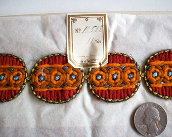 1 yard of a Hand loom embroidery deco period appliques