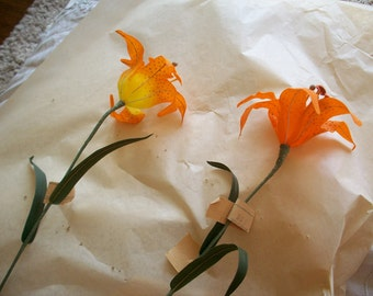 1 Antique linen tiger lily made in 1949 for millinery, German Democratic Republic