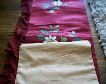 Antique french hand painted silk 1800s in the color of cabernet wine