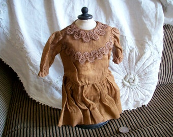 Rare 1800s doll costume hand worked real antique in cinnamon