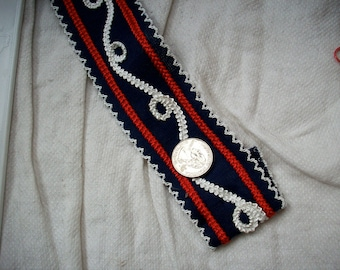 2 yards red ,white, and navy blue passementerie type trim