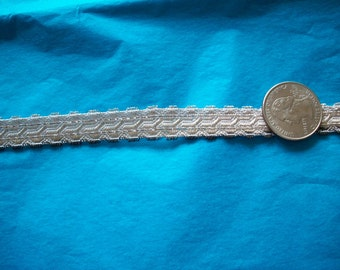1 yd. of vintage metallic antique silver trim, plus