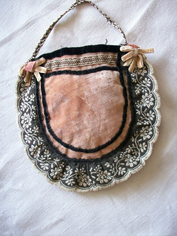 RESERVED silk dusty peach and black velvet purse