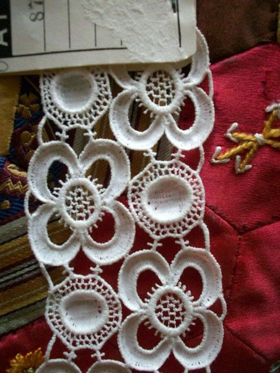 antique salesmans lace sample in pristine white