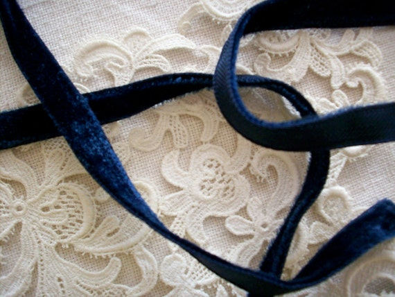 """10 yds. of antique rayon marine blue velvet, 3/8"""" width,more avail."""