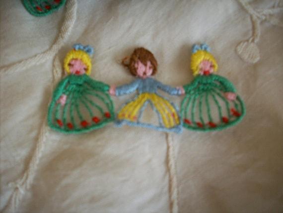 2 vintage appliqués of 3 children holding hands, more avail.