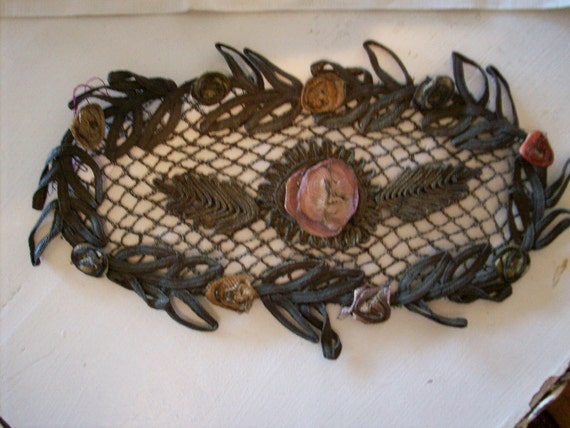 Antique french ribbonwork and metal lace piece