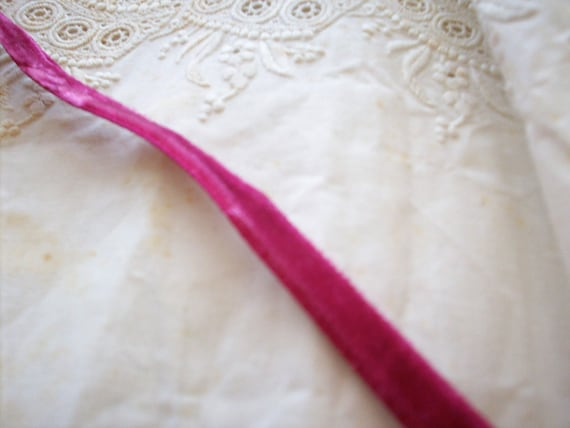 "2 yds. of gorgeous fuchsia Marcelle velvet all rayon 3/8"" vintage ribbon,more avail."