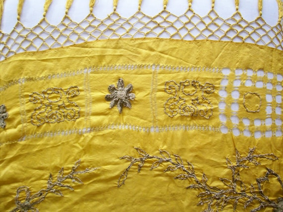 Large golden ethnic antique scarf with metal silver embroidery