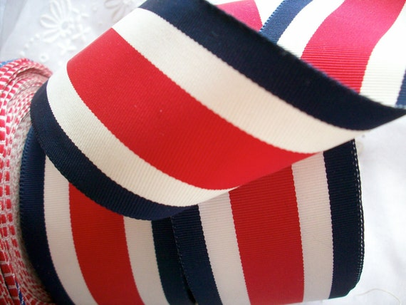 2 yards of Navy, red, white nautical striped grosgrain ribbon