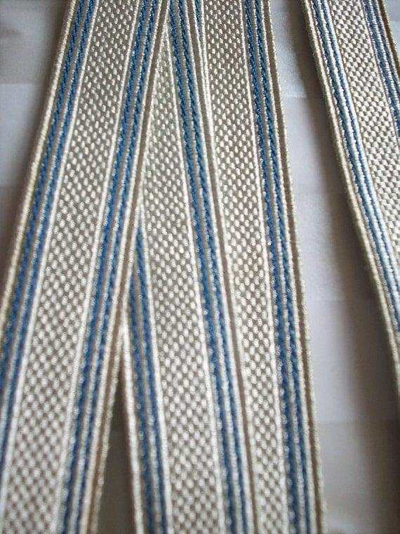 "1 yd. 4 1/2"" of vintage metallic antique silver trim with blue edges"
