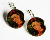 Frida Kahlo in Red Self Portrait Earrings