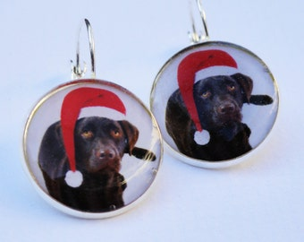 Labrador Santa Sterling Silver plated Earrings