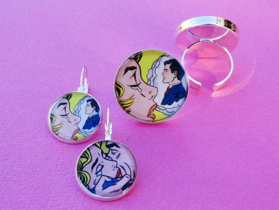 Lichtenstein Pop Art Heart throb Blond ring and earrings