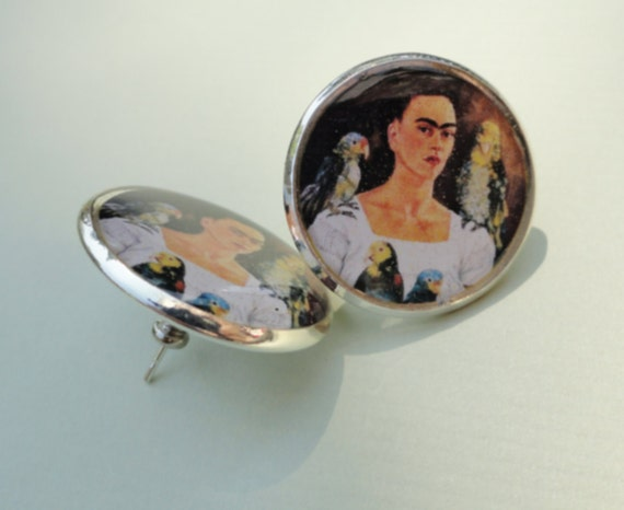 Me and My Birds Frida Kahlo Sterling Silver Plated Earrings
