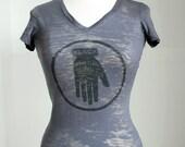 Black Hand T-Shirt - Women's Printed Graphic Burnout Tee, Vee Neck