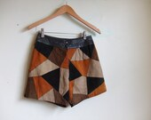 vintage 1970's patchwork suede leather shorts, hot pants