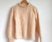 vintage 1980's handmade pink mohair sweater