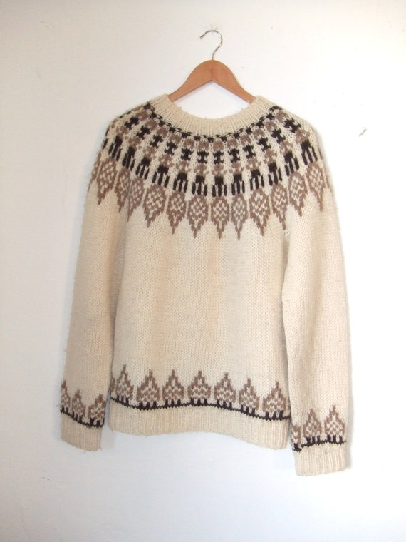 oversized comfy chalet fair isle folk wool knit sweater