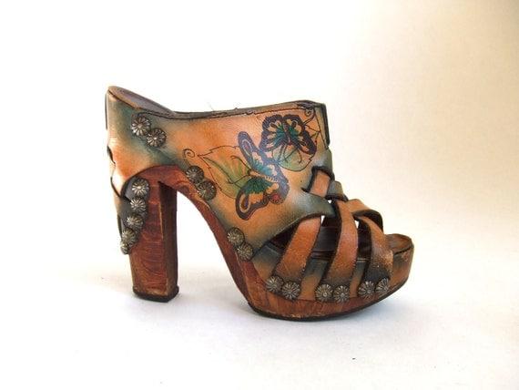 Reserved...vintage 1970's stunning Fox and Fluevog handpainted leather platform sandals with studs