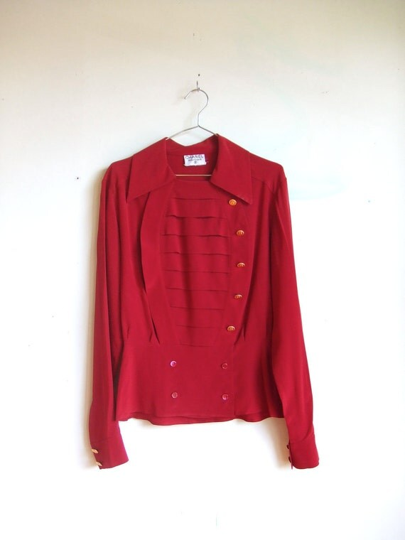 layaway for Kait...initial payment for vintage 1980's CHANEL crimson silk blouse top