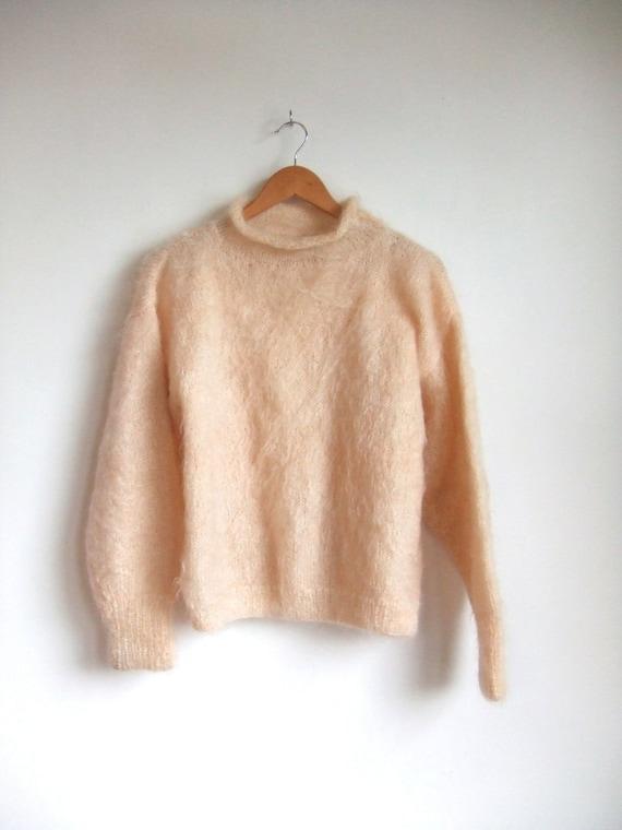 vintage 1980's handmade pink mohair sweater