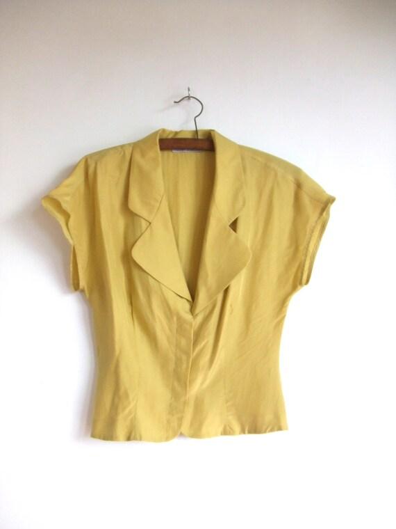 vintage 1990's citrus yellow silk Armani blouse top