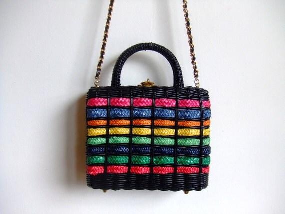 vintage 1960's rainbow wicker box purse with chain shoulder strap