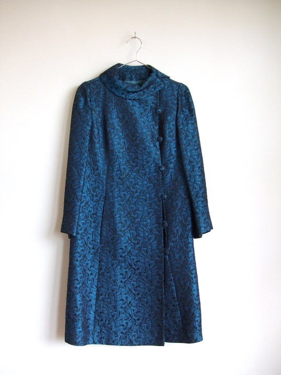 vintage 1960's blue brocade dress coat
