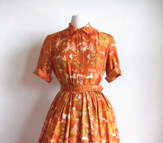 MOVING SALE////vintage 1950s orange floral water-print dress with circle skirt