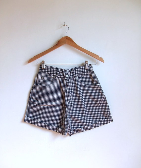 vintage 1990's black and white gingham high-waist shorts
