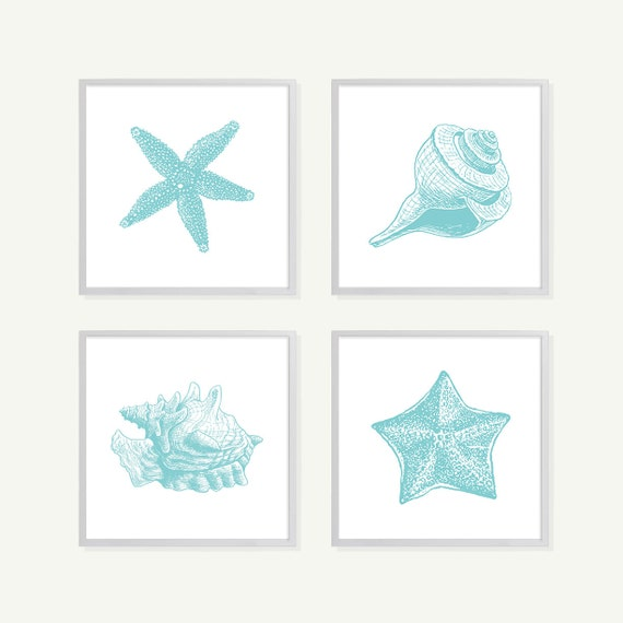 Turquoise Shells Art - Blue - Bathroom Wall Art - Bathroom Art - Nautical Nursery - Beach House Decor - Nautical Art - Boating Decor