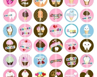 Sweet Tooth - 1 Inch Round - Digital Collage Sheet for Bottle Cap Pendants, Hair Bow Centers,  Badges, Cupcake toppers,etc.