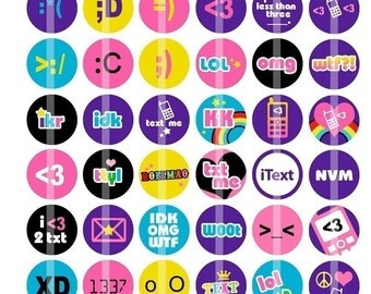 LUV 2 TEXT - fun shorthand and emoticons - 1 inch Round - Digital Collage Sheet for Bottle Cap Pendants, Badges, Cupcake toppers, etc.