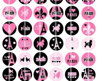 PINK and BLACK Seasons in Paris - 1 inch Round - Digital Collage Sheet for Bottle Cap Pendants, Hair bow Centers, Cupcake toppers, etc.