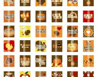 Happy Thanksgiving -  Images - .75x.83 scrabble tile size - Digital Collage sheet for pendants, magnets, etc.