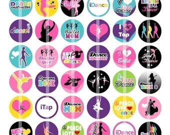 Just Dance - 1 inch Round - Digital Collage Sheet for  Bottle Cap Pendants and more